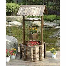 Stonegate Designs Burnished Fir Wood Wishing Well Planter Patio Yard Outdoor