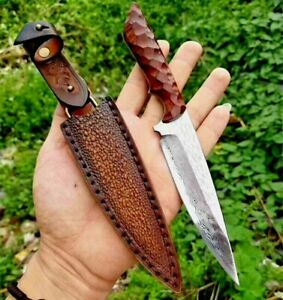 Drop Point Knife Hunting Tactical Combat Forged VG10 Damascus Steel Wood Handle