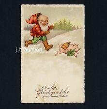 Neujahr ZWERG m GLÜCKS-SCHWEIN / DWARF w LUCKY PIG New Year / Maiale * AK u 1930