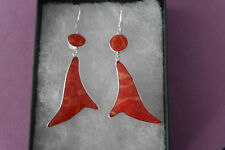 Beautiful Silver Earrings With Red Coral 4.1 Grams 5 Cm.Long + Hooks In Gift Box