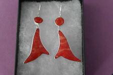 BELLISSIMO argento orecchini con corallo rosso 4.1 GRAMMI 5 cm.long + GANCI
