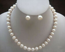 Genuine 8-9mm Natural White Akoya Cultured Pearl Necklace Earrings set 18""