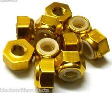 NM410G M4 4mm Nylon Alloy Aluminium Lock Nuts x 10 Wheel Axle 1/10 Gold