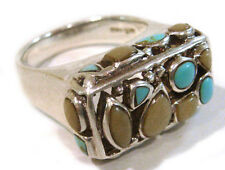 TAXCO .925 Sterling Silver Ring w/Mother of Pearl & Turquoise Size 9.75 - Mexico