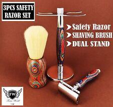 3 piezas Conjunto de afeitar de seguridad para Hombre de afeitar/Kit con cepillo de pelo de tejón & Soporte De Doble