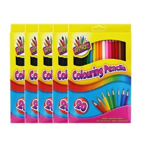Art Box Colouring Pencil Crayons Set of 20 x 5 Boxes Kids Arts & Crafts Party