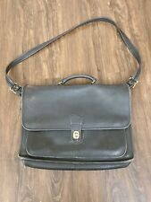 Vintage Coach Black Leather Briefcase Cross Body Messenger Laptop Bag #5180