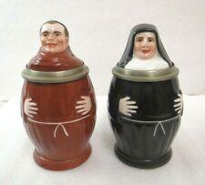 Rare set of antique authentic Munich Monk & Nun beer stein with Lithophane