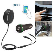 1x Wireless Bluetooth Car Music Receiver 3.5mm AUX Adapter Handsfree USB Charger