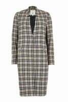 Womens Ex River Island Check Notch Collar Pockets Lined Longline Coat Size 6-14