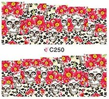 Nail Art Stickers Decals Transfers Halloween Skulls (C250)