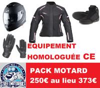 PACK MOTARD FEMME CASQUE + BLOUSON+ GANTS+ CHAUSSURE homologuée CE
