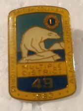 Lions Club Pin British Columbia Alaska Yukon Northern Territories 1980 multi dis