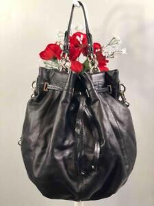 COACH XL Peyton Slouchy Black Leather Drawstring Bucket Bag #14508