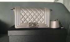 Chanel Small Boy Quilted Leather Stingray Strap Bag