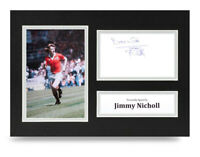 Jimmy Nicholl Signed A4 Photo Display Manchester United Autograph Memorabilia