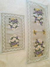 """Linen placemat with daisies embroidery/linen lace 30 x 45cm/12"""" x 18"""""""