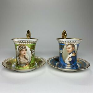 Rare French Sevres Porcelain Napoleon and Josephine Cup and Saucer  apx.1850