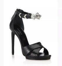 $1640 Roberto Cavalli Black Tiger Crystal Ankle Cuff Snakeskin Embosse Sandal 39