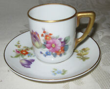 Rosenthal Demitasse Cup and Saucer, Colorful Floral with Gold Trim, Bavaria