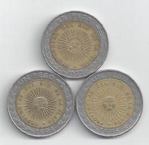 3 DIFFERENT BI-METAL 1 PESO COINS from ARGENTINA (1994, 1995 & 1996)