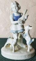 Vintage Rare Gerold Porzellan E&R Bavarian Porcelain Girl Playing Lute 1970's