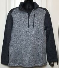 NWT Mens Woolrich Sweater Fleece 1/4 Zip Outdoor Pullover Charcoal/Stonewash M