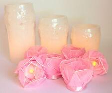 ELAMBIA Flammenlose Kerzen u Rosenteelichter mit Naturblüten 9 tlg Set Weiß Rose