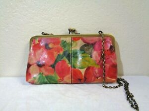 PATRICIA NASH PINK/RED/GREEN FLORAL LEATHER CONVERTIBLE CLUTCH OR SHOULDER PURSE