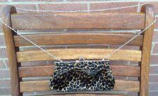 Leopard Print Clutch Holiday Brown Designer Wedding Shoulder Cross Body Chain