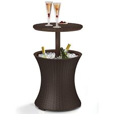 Outdoor Furniture Cool Bar Rattan Style Outdoor Patio Pool Cooler Table, Brown