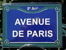 PLATE METAL STREET DECORATION 5 7/8x8 5/16in AVENUE DE PARIS fields elysées
