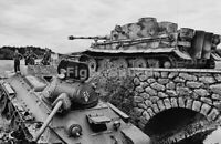 WW2 Picture Photo Tiger tank crossing a bridge with destroyed T-34 beside  3200
