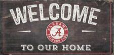 """Alabama Crimson Tide Welcome to our Home Wood Sign NEW 12"""" x 6"""" Decoration Gift"""