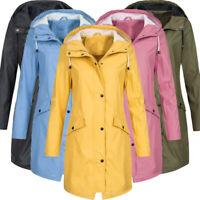 Plus Size Women's Hood Wind Jacket Outdoor Waterproof Maxi Rain Coat Long Jacket