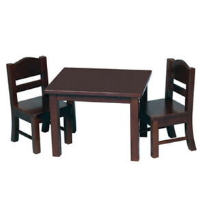 """New - Wooden Table & Chairs (Espresso) for 18"""" American Girl Dolls by Guidecraft"""