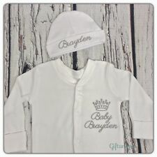 PERSONALISED Baby Sleepsuit & Hat Gift Set Crown Script Keepsake Boys Girls New