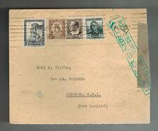 1937 Barcelona Spain Censored Cover to Dunedin New Zealand