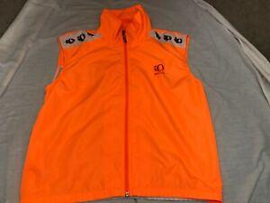 Men's L Pearl Izumi Zephrr Neon Orange Full Zip Wind Cycling Vest w/ Back Mesh