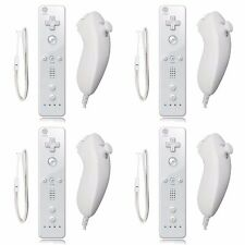 4 x Remote And Nunchuck Controller Set  + Case Skin For  Nintendo Video Game