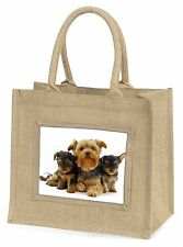 Yorkshire Terrier Dogs Large Natural Jute Shopping Bag Christmas Gift , AD-Y3BLN