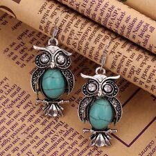 Tibetan Vintage Silver Oval Turquoise Crystal Gem Owl Earring Ear Stud Jewelry #