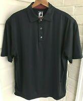 FOOTJOY FJ ProDry Lisle Golf Polo Shirt Black Poly Blend Stretch Mens Medium M