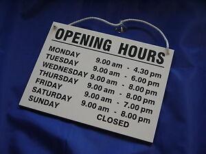 Opening Hours / Times - Hanging Shop Window / Door Sign