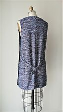 Balenciaga Paris Multi Blue Summer Boucle Tied back Sleeveless Dress Sz 38