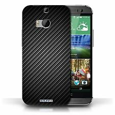 Stuff4 Phone Case/back Cover for HTC One/1 M8 /carbon Fibre Effect/pattern Grey