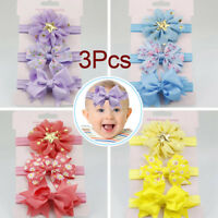 3pcs/Set Newborn Girl Bow Headband Ribbon Elastic Baby Headdress Kids Band LrJNE