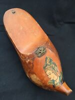 VINTAGE FRENCH WOODEN CLOG SHOE SABOT BOOT PAINTED BRETON LADY TRINKET BOX RARE