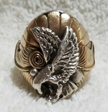 VINTAGE STERLING SILVER EAGLE with GOLD-TONED ACCENTS RING Sz 10.75