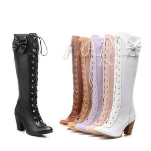 Womens Strappy Lolita Bow Princess Boots Block Heels Zip Cosplay Knee High Boots